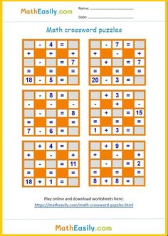 Math crossword puzzles for kids: Download worksheets, play online math crossword puzzles, check results, find mistakes and play again. This game teaches kids addition and subtraction. #matheasily #mathworksheets #mathgames #addition #subtraction #firstgrademath #secondgrademath #thirdgrademath #additionactivities #kids 1st Grade Math Games, Free Math Games, Math Games For Kids, Fifth Grade Math, Fourth Grade, Math Subtraction Worksheets, Math Addition Worksheets, 4th Grade Math Worksheets, Free Printable Math Worksheets