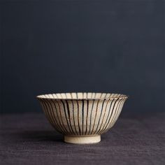 Two-Colored Stripe Rice Bowl. Handcrafted, hand-painted in Japan