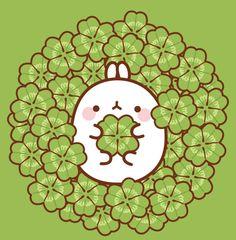 Molang in clovers Rabbit Wallpaper, Kawaii Wallpaper, Cute Wallpaper Backgrounds, Cute Cartoon Wallpapers, Images Kawaii, Cute Images, Cute Pictures, Cute Kawaii Drawings, Kawaii Cute