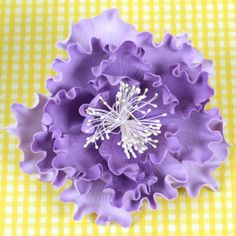 """Large 4.5"""" Purple Ombre Peony made of Gum Paste.  Ready-made Cake Decoration."""