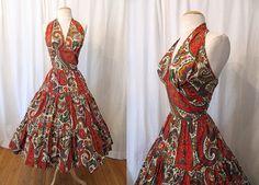 "1950's Cotton Paisley Print Halter Sun Dress, by ""Kay Whitney by Huntington"" Day Party Dress"