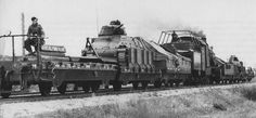 German armoured train No. 28    German armoured train No. 28, armed with captured French tanks. SomuaS35.
