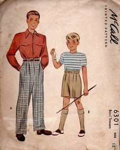 1940s Rare McCall Sewing Pattern Men Boys by AdeleBeeAnnPatterns