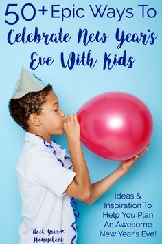 You CAN still have an amazing New Year's Eve with kids! Check out these 50+ Epic Ways to Celebrate New Year's Eve with Kids. Get ideas & inspiration plus printables to help you plan a memorable New Year's Eve with your family.