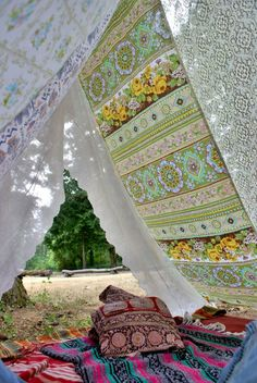 Bohemian Festival Tent Vintage fabric canopy by KittyLovesLou