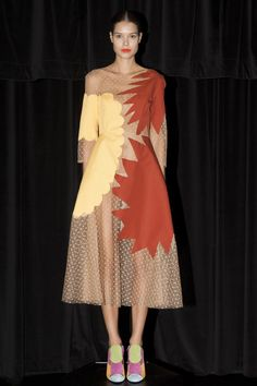 #ShopCamp #CampCollection nude sheer dress with appliqué starburst and shapes in yellow and red. fashion.