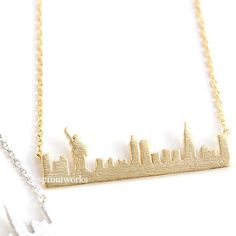 new york  necklace, new york skyline necklace,city necklace, us jewelry, souvenir necklace, skyline necklace, statue of liberty, new york by sproutworks on Etsy