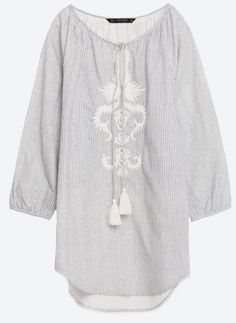 NWT ZARA Blouse with Embroidered Bib Front Striped Tunic SIZE L Ref.1381/025 #ZARA #Tunic #Casual