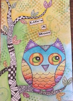 Art journal owl and tree