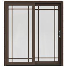 Jeld-Wen Simulated Divided Light Clad-Wood Left-Hand Sliding Double Door Sliding Patio Door With Screen (Common: X Traditional Paint, Window Unit, Grades, Sliding Patio Doors, Types Of Doors, Wood Interiors, Cool House Designs, Double Doors, Wooden Doors