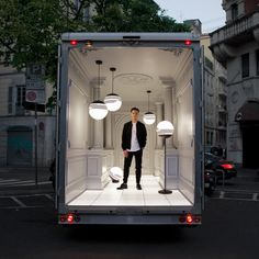 To show off his new 1990s-inspired lighting, Lee Broom has decked out the back of a van that he drove all the way from London to Milan