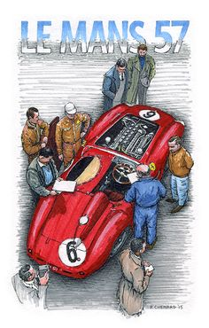 """Ferrari 335MM - Tech inspection - 1957 24 Heures du Mans Peter Collins/Phil Hill car #6 only achieved 2 laps before the engine gave out. I sketched this at a cricket match. Pencils, pen&ink, markers and Jack Daniels Honey Whiskey on 6""""x 9.25"""" watercolour paper © Paul Chenard 2015 Original art available."""