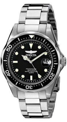 Invicta Men Pro Diver Collection Silver Tone Watch Quartz Stainless Steel