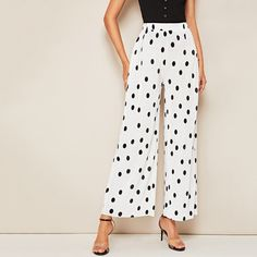 To find out about the Polka Dot Print Wide Leg Pleated Pants at SHEIN, part of our latest Pants ready to shop online today! Pleated Fabric, Pleated Pants, Flare Leg Pants, Wide Leg Pants, Polka Dot Print, Polka Dots, Satin Joggers, Wrap Skort, Vestidos