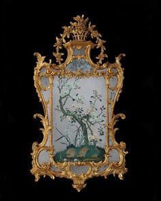A George lll reverse mirror painting in a giltwood frame attributed to John LInnell -
