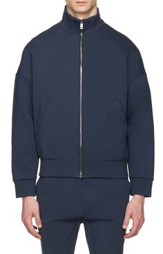 Jil Sander Navy Jersey Zip-Up Pullover from SSENSE (men, style, fashion, clothing, shopping, recommendations, stylish, menswear, male, streetstyle, inspo, outfit, fall, winter, spring, summer, personal)