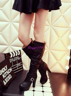 Elegant Women's Lady Buckle Platform Punk Mid Calf Boots Chunky Chelsea Shoes