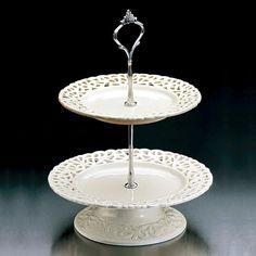 Prato Para Doces Dois Andares Bon Gourmet Porcelana Branca 20,5x30cm