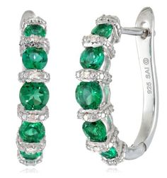 Be Stylish this St. Patty's Day...Great Price! Sterling Silver Created Emerald and Diamond-Accented Hoop Earrings!  #teelieturner #stpatricksday #teelieturnershoppingnetwork www.teelieturner.com