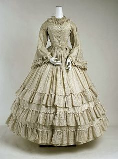 In the Swan's Shadow: Cotton flounced dress, ca. 1865