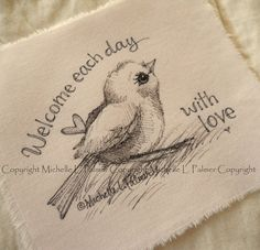 Original Pen Ink on Fabric Illustration Quilt Label by Michelle Palmer Sparrow Bird Heart Love