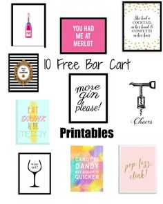 10 free bar cart printables