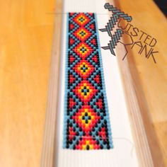 Start of a custom beaded hatband - Be sure to check out Twisted Rank Beadwork on Facebook! Peyote Beading Patterns, Loom Bracelet Patterns, Bead Loom Bracelets, Bead Loom Patterns, Loom Beading, Native Beadwork, Native American Beadwork, Beaded Hat Bands, Brick Patterns