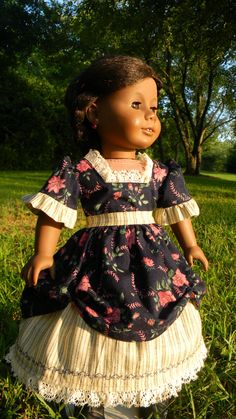 "18 inch Doll Gown Civl war Style Two piece gown floral and strip for your american girl or other 18"" dolls"