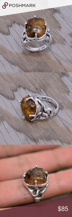 """Sterling Silver & Chiapas Amber Ring Stamped """"950"""". Higher Sterling finess than 925 This is not a stock photo. The image is of the actual article that is being sold Size: 7. Sterling silver is an alloy of silver containing 92.5% by mass of silver and 7.5% by mass of other mThe sterling silver standard has a minimum millesimal fineness of 925. The fitness on this ring is 950. All my jewelry is solid sterling silver. I do not plate. crafted in Taxco, Mexico. Will ship within 2 days of order…"""
