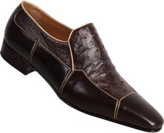 "Mauri - ""3004"" Dark Brown Genuine Ostrich/Calf Loafer"