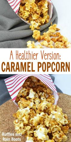 Healthy caramel popcorn for a clean take on the corn syrup version This is an easy recipe and works perfectly for a Harry Potter movie night via momtoelise Healthy Movie Snacks, Movie Night Snacks, Night Food, Healthy Recipes, Healthy Desserts, Fall Recipes, Holiday Recipes, Snack Recipes, Healthy Eating