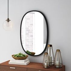 Umbra Hub Oval Modern & Contemporary Accent Mirror Size: x Finish: Black Large Oval Mirror, Circular Mirror, Round Wall Mirror, Bathroom Mirror Design, Bathroom Ideas, Master Bathroom, Bathroom Plans, Basement Bathroom, Mirrors