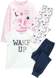 Girls 2 Pack Wake Up Print Pyjama Set (4-13yrs) - Matalan
