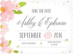 Blissful Petals - Signature White Textured Save the Date Cards - Magnolia Press - Blushing - Pink : Front