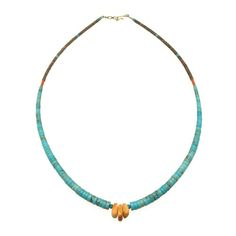 Collier Pueblo Joclas Turquoise, Spondyl et Corail. Fermoir en argent. | Harpo Paris #nativeamerican #collierturquoise #navajo #pueblo #zuni