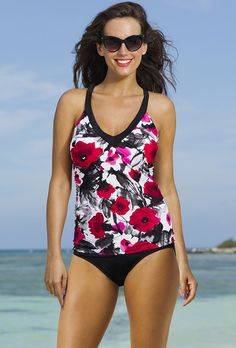 b7f4dd40dc8d0 Shore Club Poppy Splash V-Neck Sport Tankini Plus Size Tankini, Plus Size  Swimwear