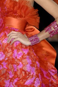 Pink and orange haute couture dress, Christian Lacroix, Spring Christian Lacroix, Couture Details, Fashion Details, Orange Mode, Mode Rose, Orange Fashion, Tropical Fashion, Pink Fashion, Colorful Fashion