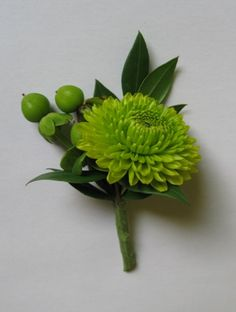 Green boutonnieres to match the bridesmaids flowers/bouquets. maybe add a purple ribbon/or smaller filler flower to get some purple color in there if you like.