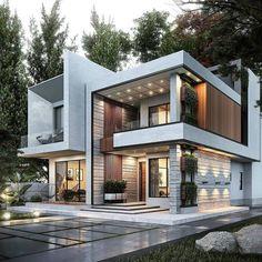 Modern Villa Design, Modern Exterior House Designs, Dream House Exterior, Cool House Designs, Exterior Design, Contemporary Design, Best Modern House Design, Modern House Facades, Modern Architecture House