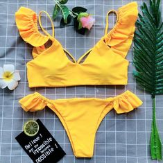 2018 New Bikinis Women Sexy Swimsuit Ruffles Plunge Neck Bathing Suit Swimwear Bikini Set Retro Frill Beach Wear Biquinis