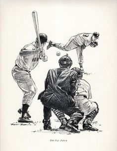 """""""The Fat Pitch"""" by Robert Riger Diamonds In The Sky, Baseball Art, Sketchbook Ideas, Sports Art, Pitch, Pencil Drawings, Illustrators, Mlb, Illustrations"""