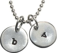 """Double Initial Disc Charm Necklace 1/2"""" Circle $20.00 Two handstamped initial charms"""