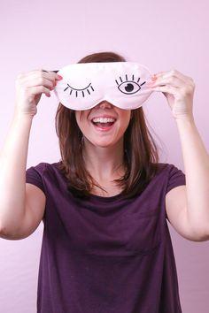 Follow this simple tutorial to make a DIY silk eyelash sleep mask using a free template to iron vinyl onto a silk sleep mask.