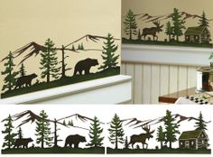 Woodland Moose and Bears Wall Border Decorative Decals