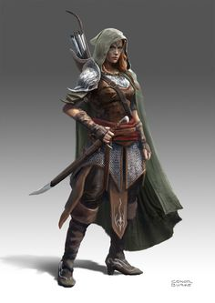 Elf Ranger, Conor Burke on ArtStation at https://www.artstation.com/artwork/m4K98
