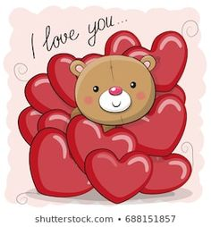 Cute Teddy Bear in hearts. Valentine card with teddy bear in hearts stock illustration Valentines Day Teddy Bear, Valentines Art, Clip Art, Cute Clipart, Tatty Teddy, Cute Teddy Bears, Cute Stickers, Cute Love, Cute Cartoon