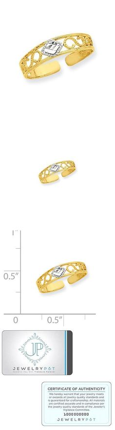 Toe Rings 140010: 14K Yellow Gold And Rhodium Diamond Cut Toe Ring. Metal Wt-0.61G -> BUY IT NOW ONLY: $45.99 on eBay!