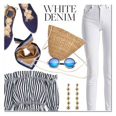 """White denim"" by fshionme ❤ liked on Polyvore featuring Barbour International, Tory Burch and whitejeans"