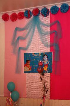 Little krishna theme Little Krishna, Baby Krishna, Krishna Birthday, Peacock Decor, Radhe Krishna, Preschool Activities, Birthday Party Themes, Backdrops, Women's Fashion