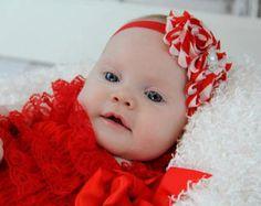 Christmas Baby Headband Red White Chevron Shabby Chic Flower Headband, Christmas Red Headband Newborn Headband Girls Holiday Headband